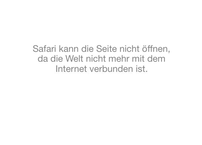 Safari kann die Seite nicht öffnen, da die Welt nicht mehr mit dem Internet verbunden ist.