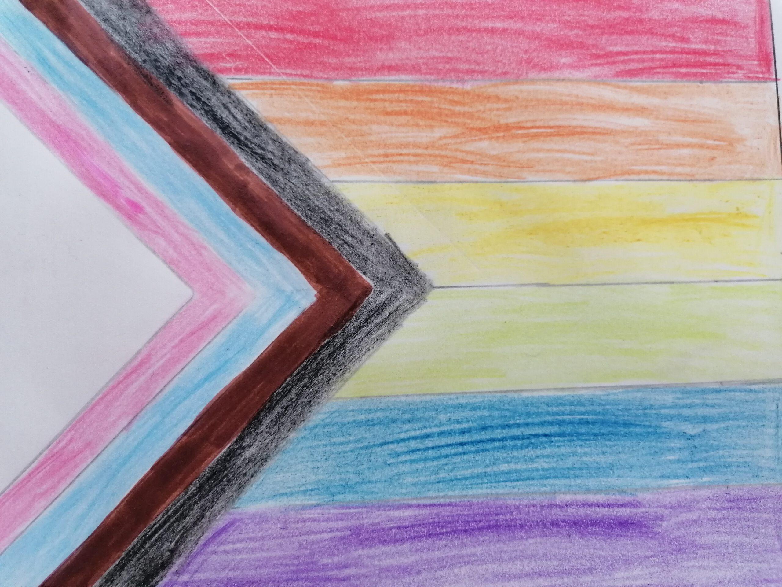 Gemalte LGBTQ+ Flagge